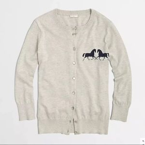 J. Crew Factory Clare Cardigan in Horses in Gray
